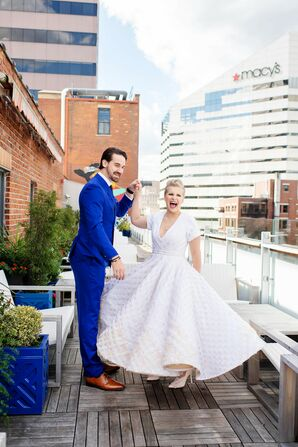 Eclectic Couple with Royal-Blue Suit and Vintage Ankle-Length Wedding Dress