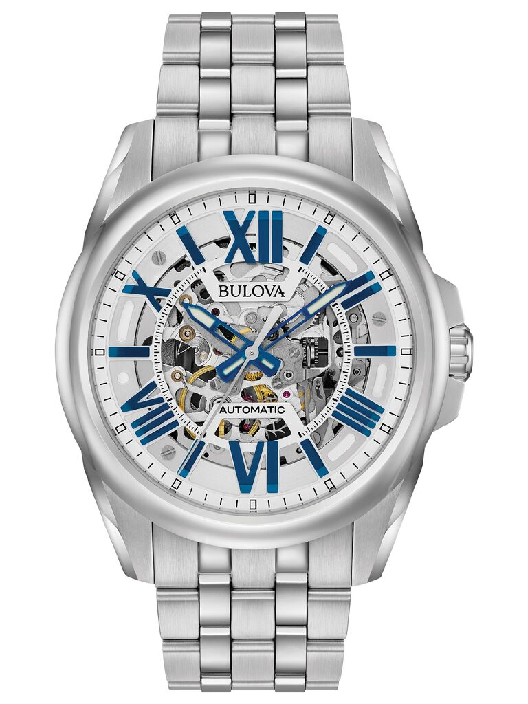 Stylish silver-tone bracelet watch with skeleton movement 15-year anniversary gift
