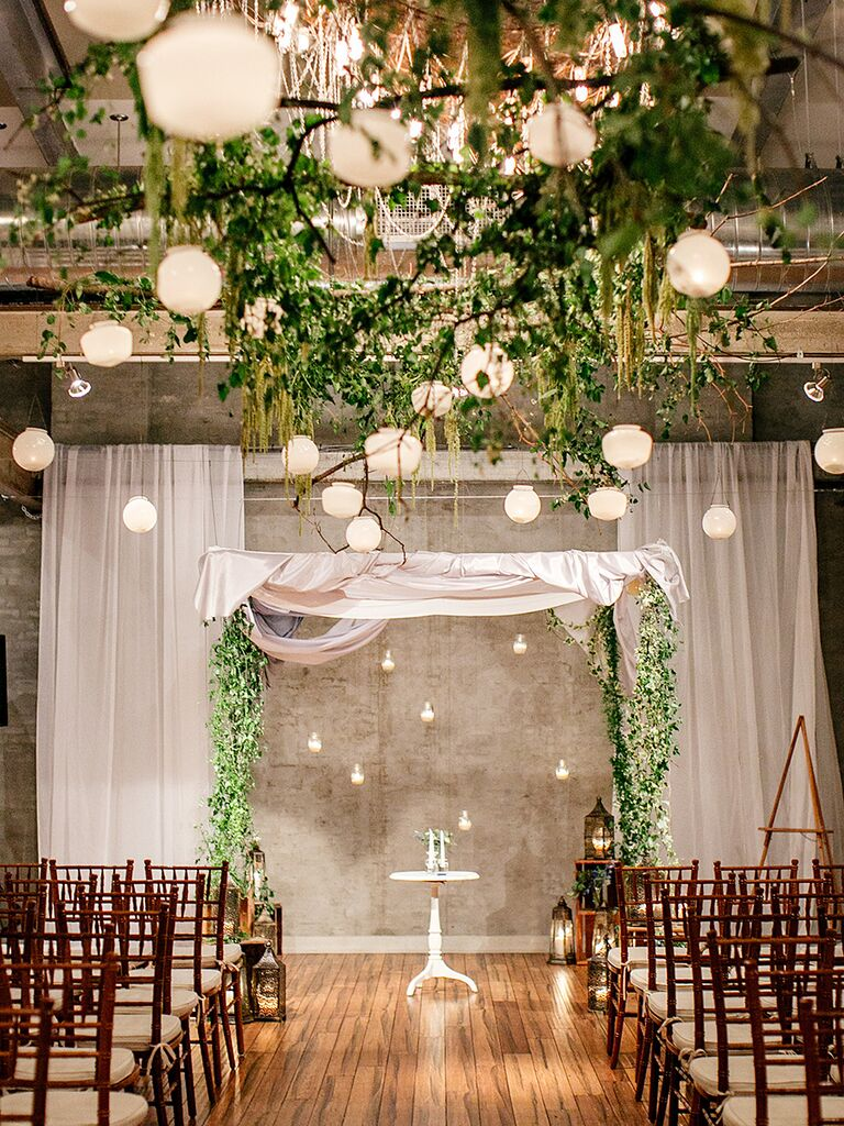17 creative indoor wedding arch ideas matching hanging lanterns and greenery aisle and arch decor junglespirit Images
