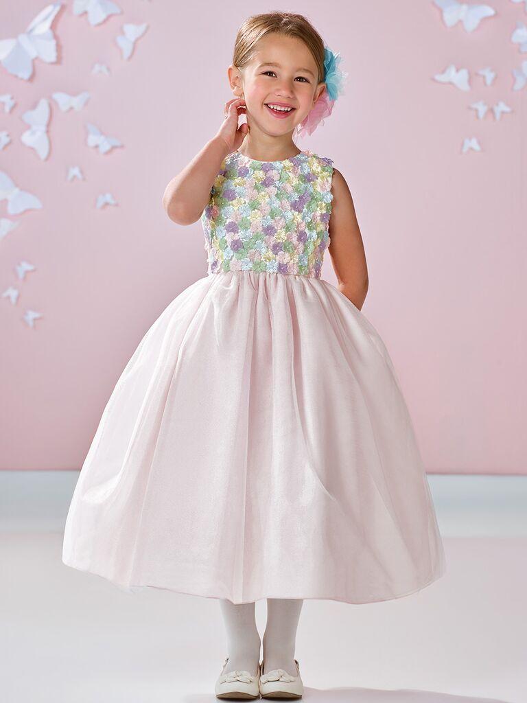 sleeveless floral flower girl dress