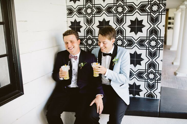 David Canfield (26 and an entertainment journalist) and Andrew Quintana (26 and a writer) brought a luxe, modern flair to their wedding in Palm Spring