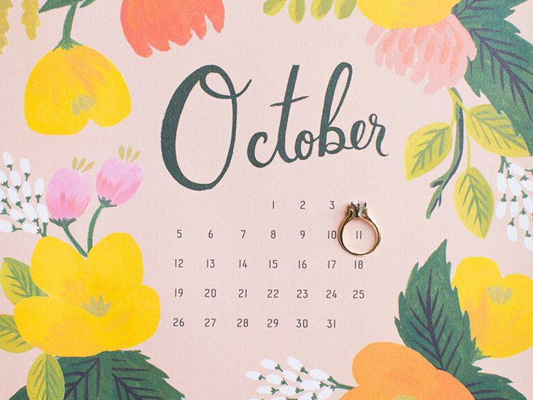 Engagement ring on calendar