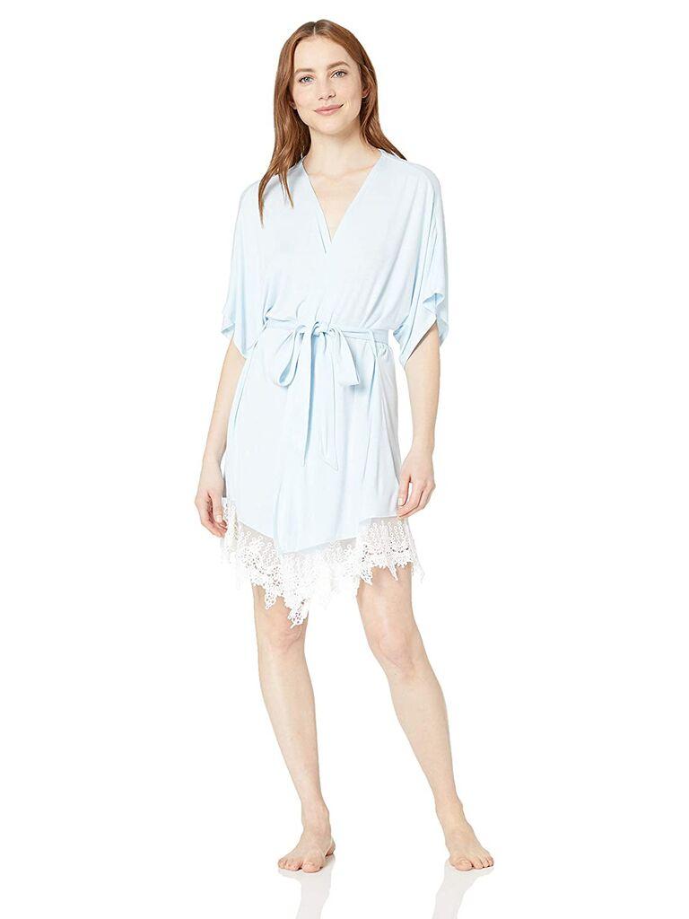 Blue lace bridal robe