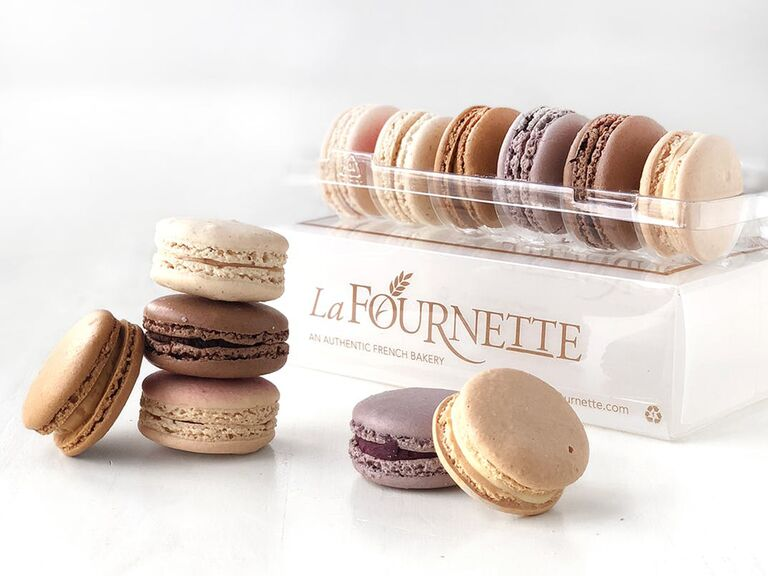 La Fournette gift box with macarons stacked in front and in a tray above