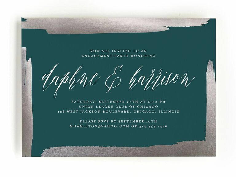 Green engagement party invitation with foil