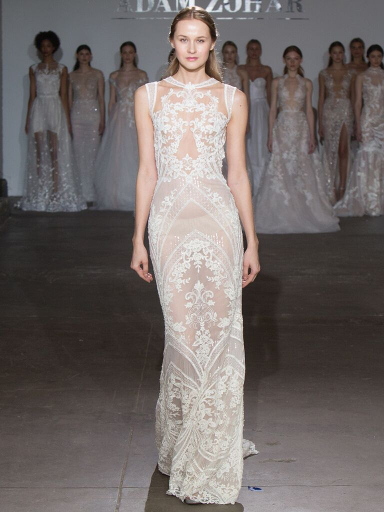 Adam Zohar Spring 2019 Collection sheer sheath wedding dress with lace embroidery and high neckline