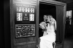 Bride and Groom in Photo Booth at The Asbury Hotel