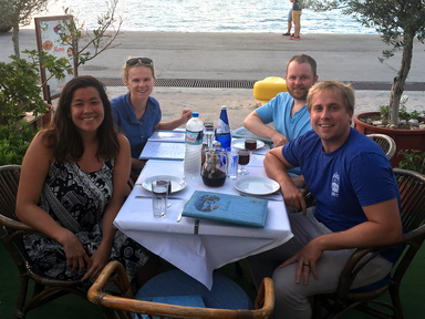 Two couples honeymooning in Greece together