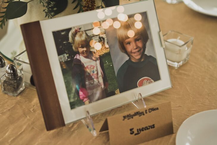 """""""Part of the table centerpieces were pictures of Johnathan and I growing up and our parents and grandparents on their wedding day,"""" the bride says. """"It was just a little something fun I wanted to add."""""""