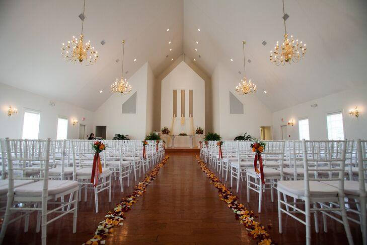 Chapel Ceremony with Flower Petal Aisle Decor