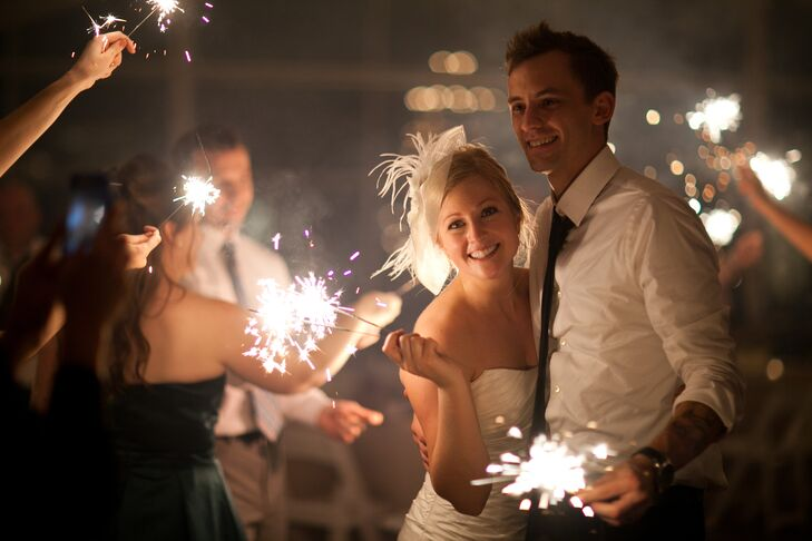 Bride and Groom During Sparkler Send-Off