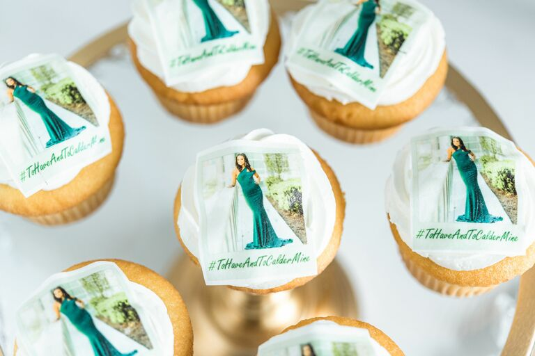 Custom cupcakes with picture of bride