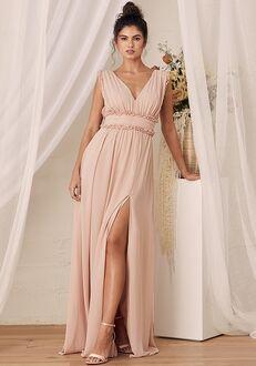 Lulus Always Devoted Blush Pink Ruffled Sleeveless Maxi Dress V-Neck Bridesmaid Dress