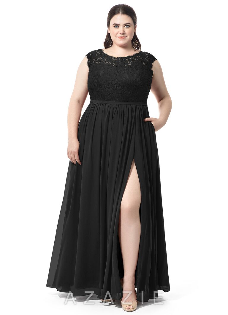 Black Lace Plus Size Bridesmaid Dress