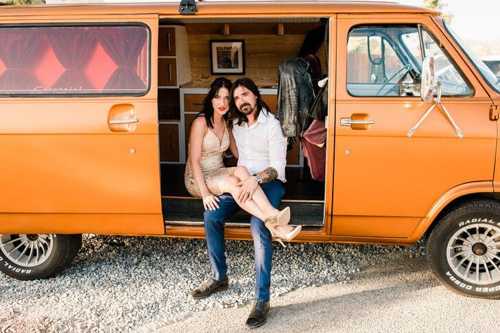 Retro Orange Chevy Van