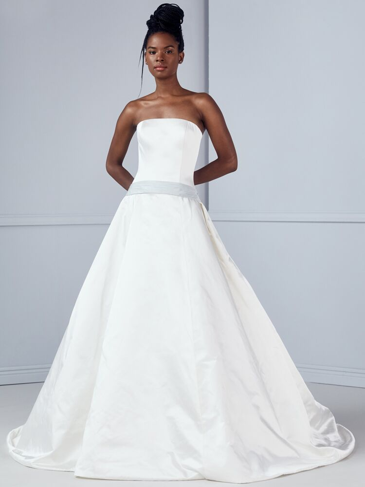Amsale strapless ball gown with blue sash