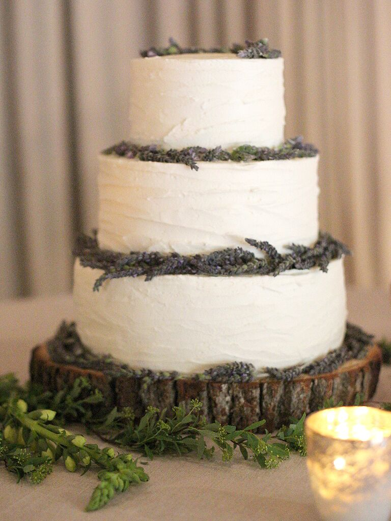 Rustic white wedding cake with fresh lavender