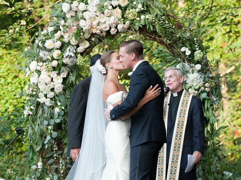 Couple shares first kiss