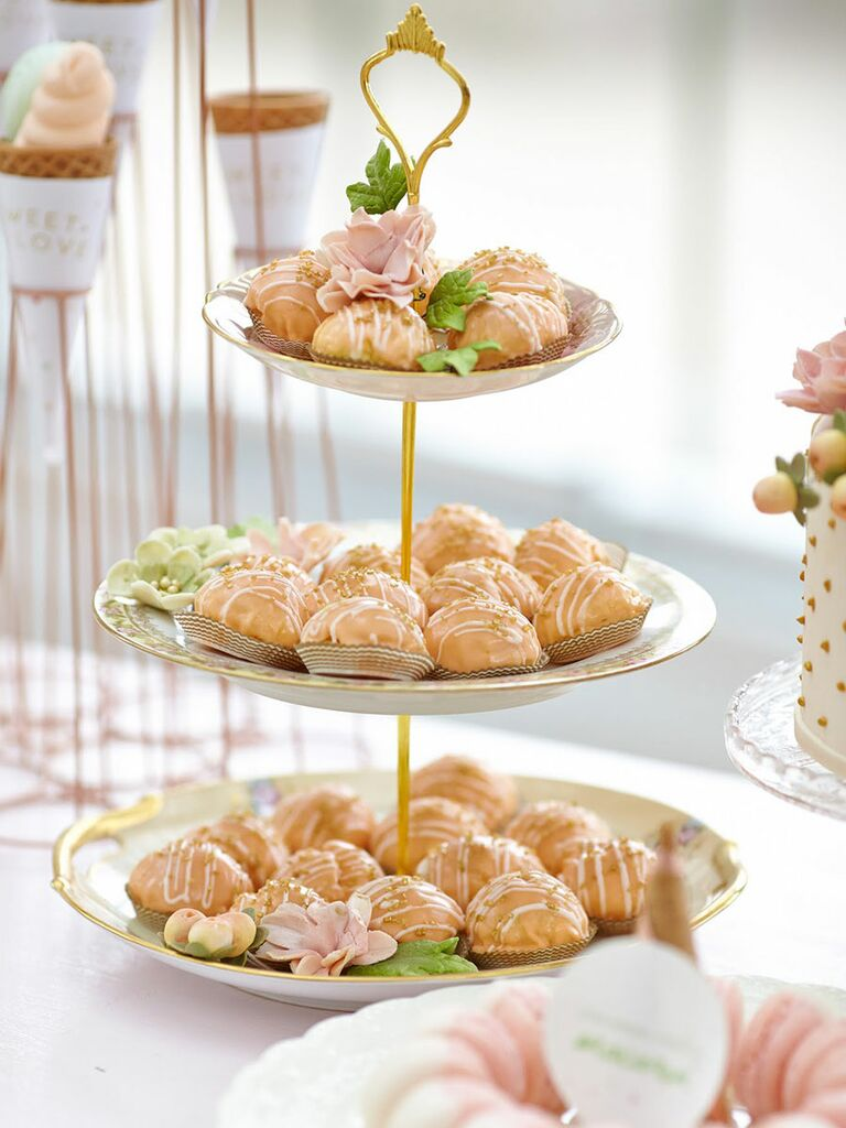 Tea party-themed bridal shower dessert