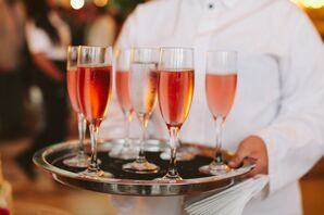 Flutes of Rosé on Silver Tray