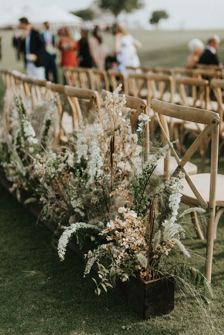 Wood Aisle Decorations of Grasses, Greenery and Wildflowers