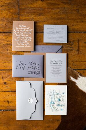 Gray Hand-Lettered Wedding Invitations
