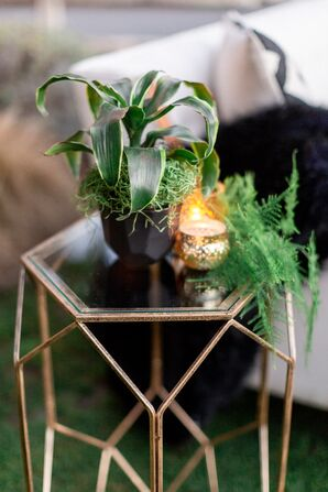 Gold Geometric Table with Plant and Candle