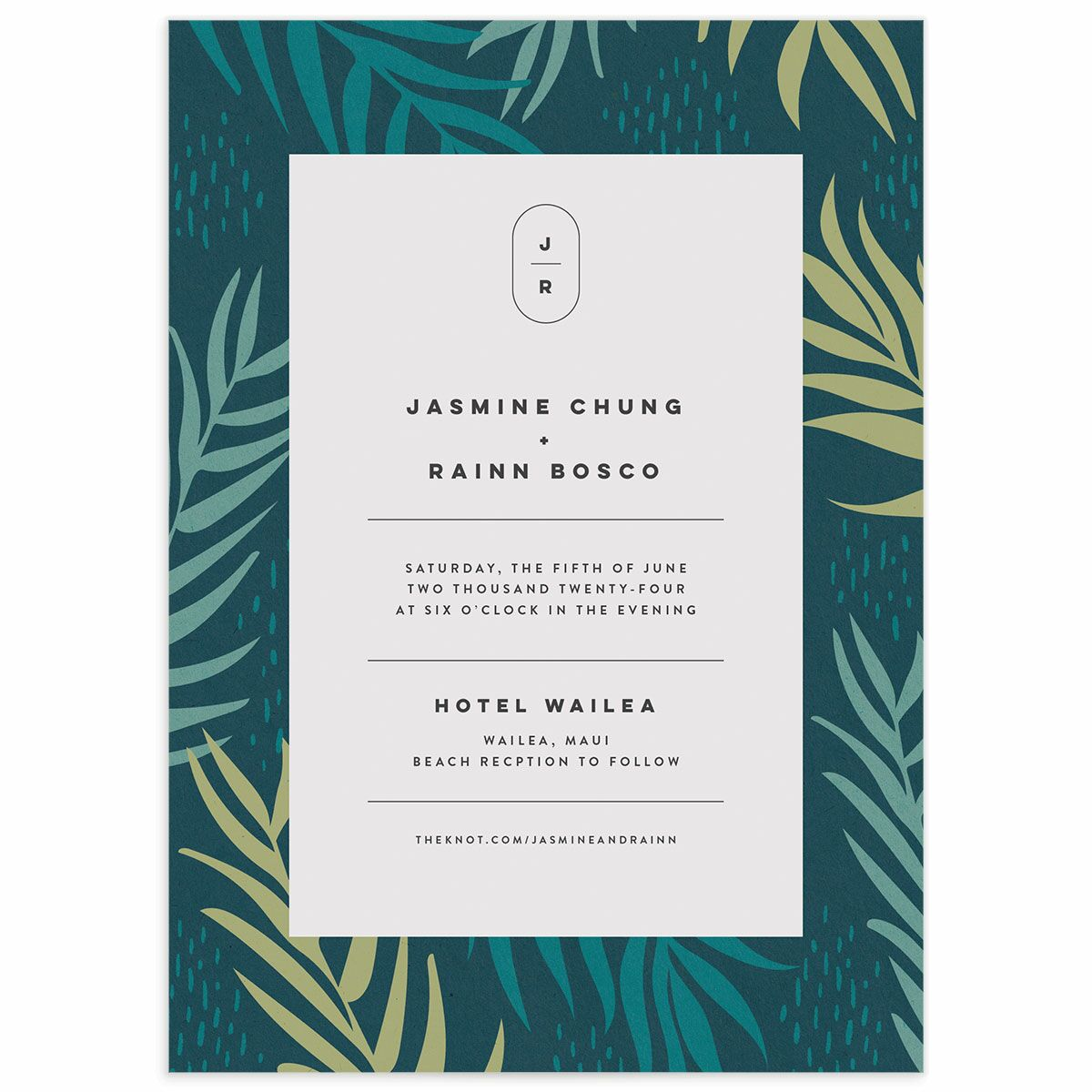 A Wedding Invitation from the Modern Palm Collection