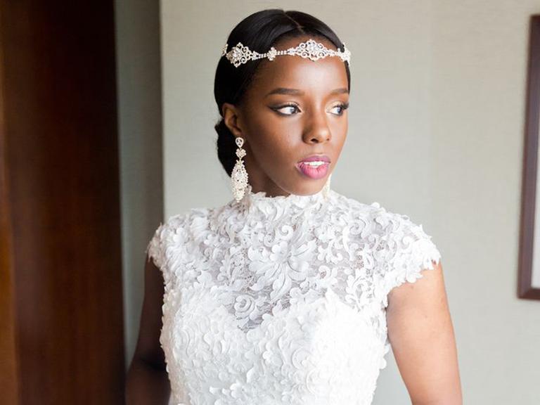 cap sleeve wedding dress with glamorous headpiece