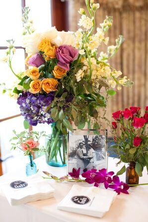 Colorful Floral and Mason Jar Reception Decor