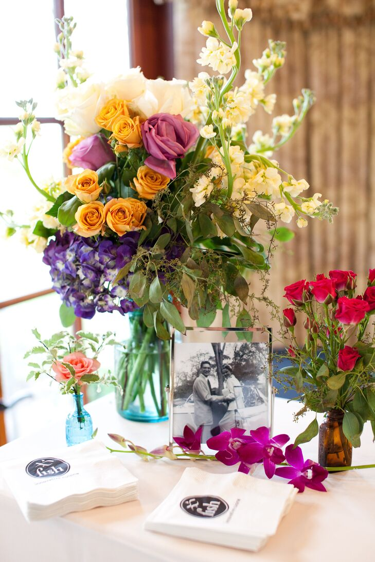 Colorful Floral and Mason Jar Reception Decor