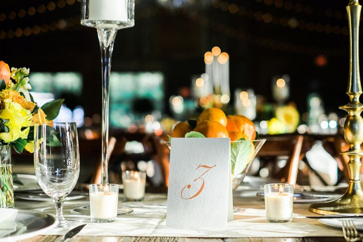Elegant Orange and White Table Numbers