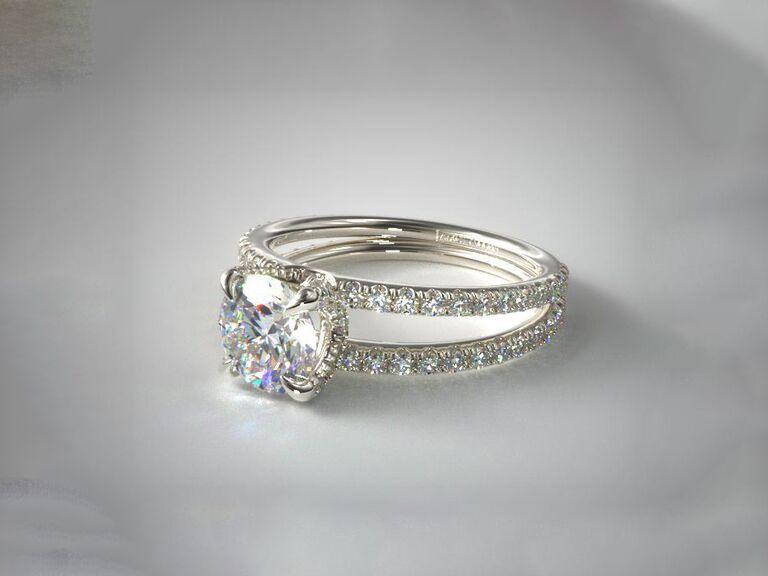 James Allen pave split shank contour diamond engagement ring in 14K white gol