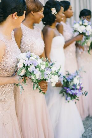 Bridesmads in Sparkly Blush Dresses with Lavender Bouquets