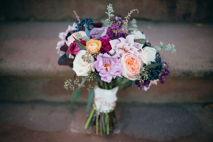 Purple Rose Dahlia And Berry Bouquet