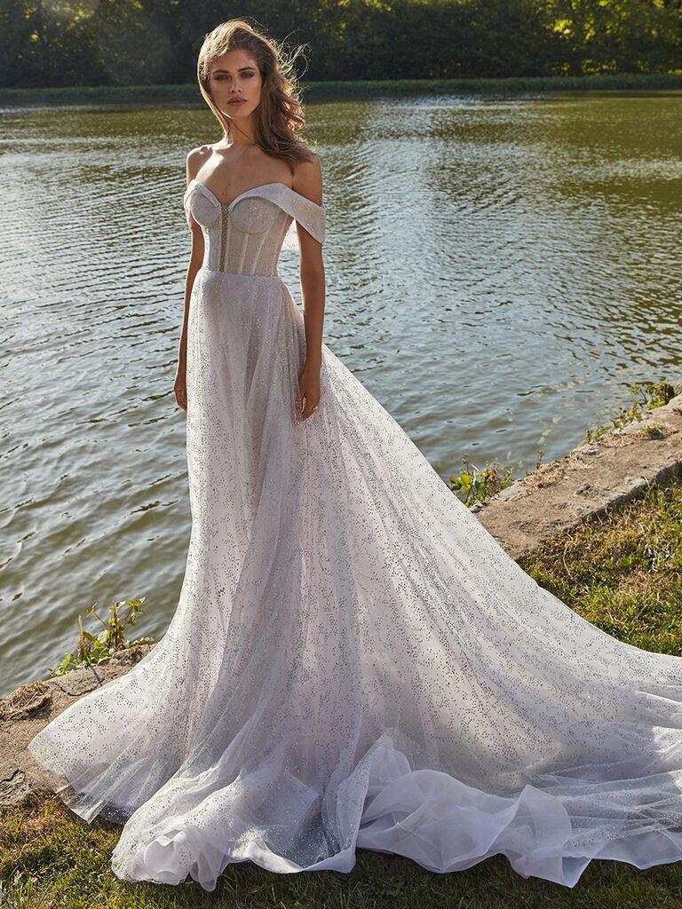 Galia Lahav off the shoulder lavender hue gown