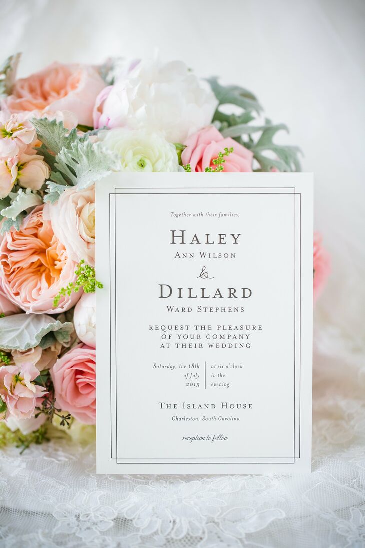 Elegant simplicity was the driving force behind Haley and Dillard's stationery design, with plain white paper and black lettering printed in capital letters. Two solid black lines around the perimeter framed it in a tidy rectangle.