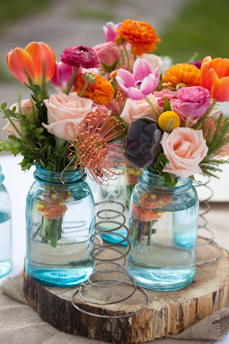 Blue Mason Jar-Filled Wedding Reception Centerpieces