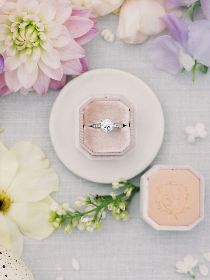 Classic Solitaire Engagement Ring with Pavé Band