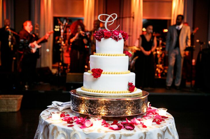 Three Tier Wedding Cake With Red Roses