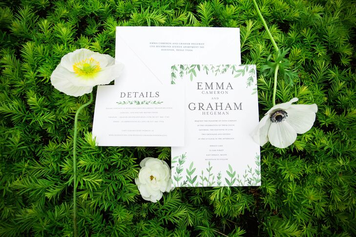 "Decked out in verdant flourishes, Emma and Graham's invitations took on a cheerful, garden-inspired tone that complemented the whimsical outdoor affair to come. ""We had a loose theme of a British afternoon garden tea party,"" Emma says. ""We both love this romantic, whimsical style."""