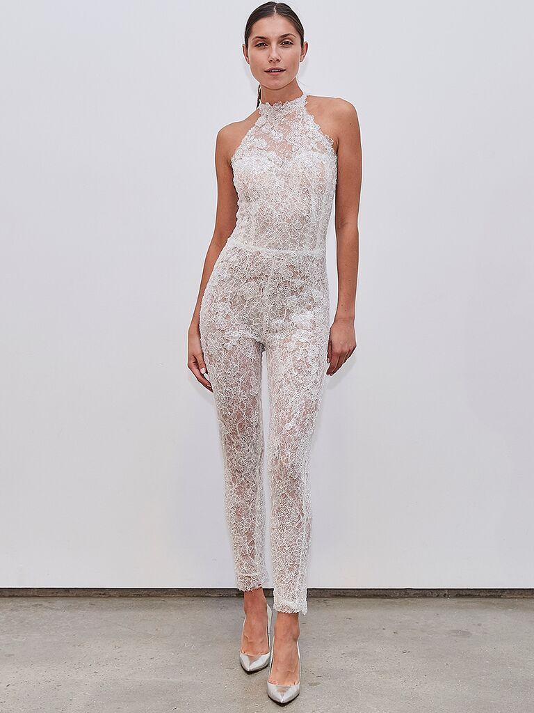 Francesca Miranda lace high-neck jumpsuit