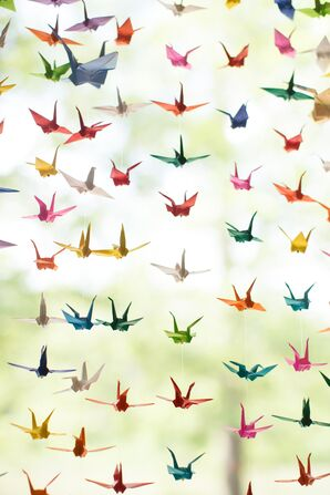 Colorful Origami Paper Cranes