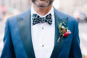 Navy Floral Bow Tie and Rustic Boutonniere