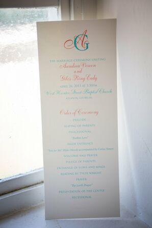Pink and Teal Wedding Programs