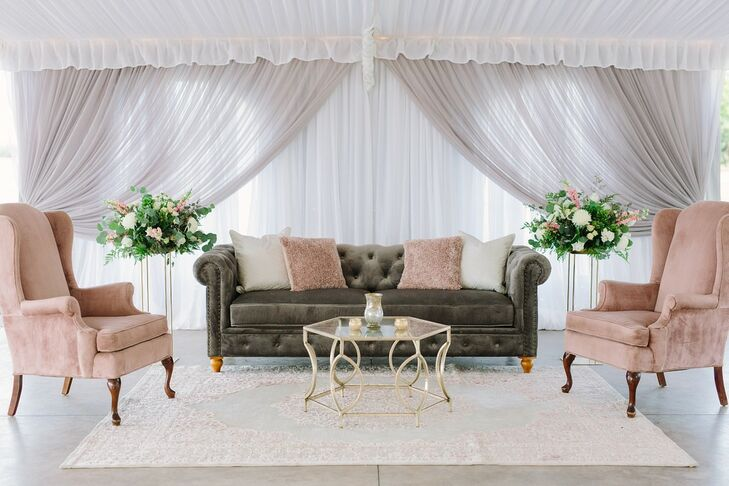 Elegant Pink and Gray Lounge Furniture with White Draping