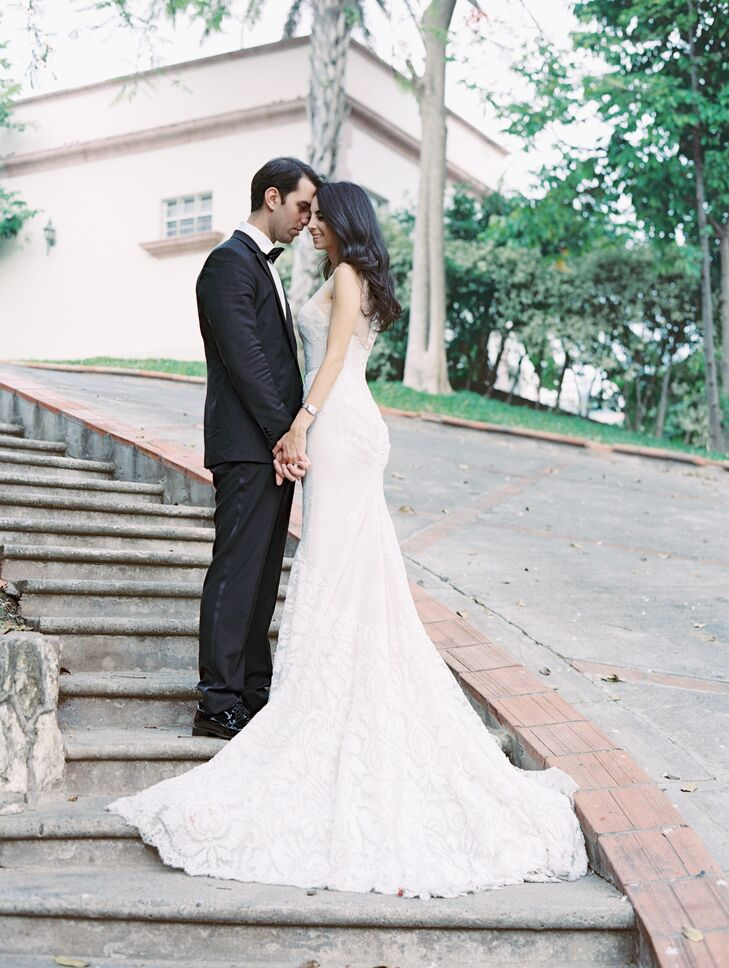 "The bride's romantic, fitted wedding gown set the tone for the classic-meets-modern day. ""It was a mermaid-style Inbal Dror, and I loved every detail of it,"" Monique says."