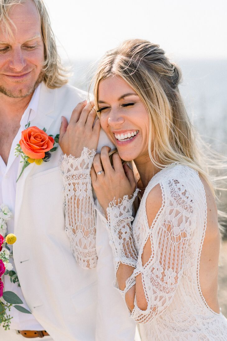 Bohemian Bride with Long-Sleeve Lace Wedding Dress
