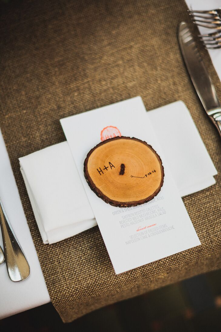 """As party favor, we gifted guests engraved wooden coasters to use as nostalgic decorative accents,"" says Helen. ""We are both touched when we visit friends and see the coasters being used."""