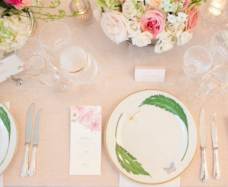 Kathryn carried the garden theme throughout the tablescape, from the custom watercolor floral print on the menu to the beautiful botanical plates.
